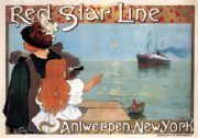 Vintage travel poster, Red Star Line poster, circa 1899
